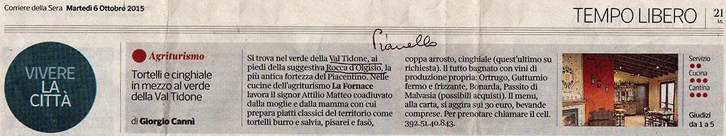 Agriturismo la Fornace sul Corriere della Sera